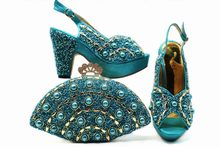 Turquoise blue italy shoes and bag set for african aso ebi wedding party shoe  bag set matching peach italian shoes bag SB8279-2 ebf70425cd29