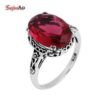 Victoria Punk Antique Jewelry Simulation Ruby Wedding Ring 925 Sterling Silver Engagement Gift For Free