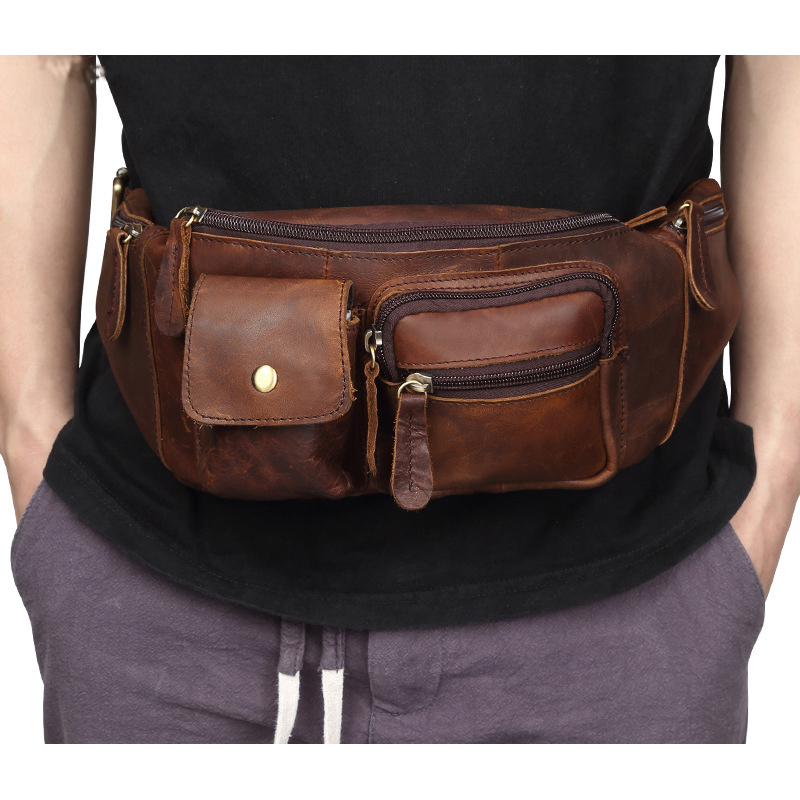 Weduoduo Genuine Leather Waist Packs Fanny Pack Belt Bag Phone Pouch Bags Travel Male Small