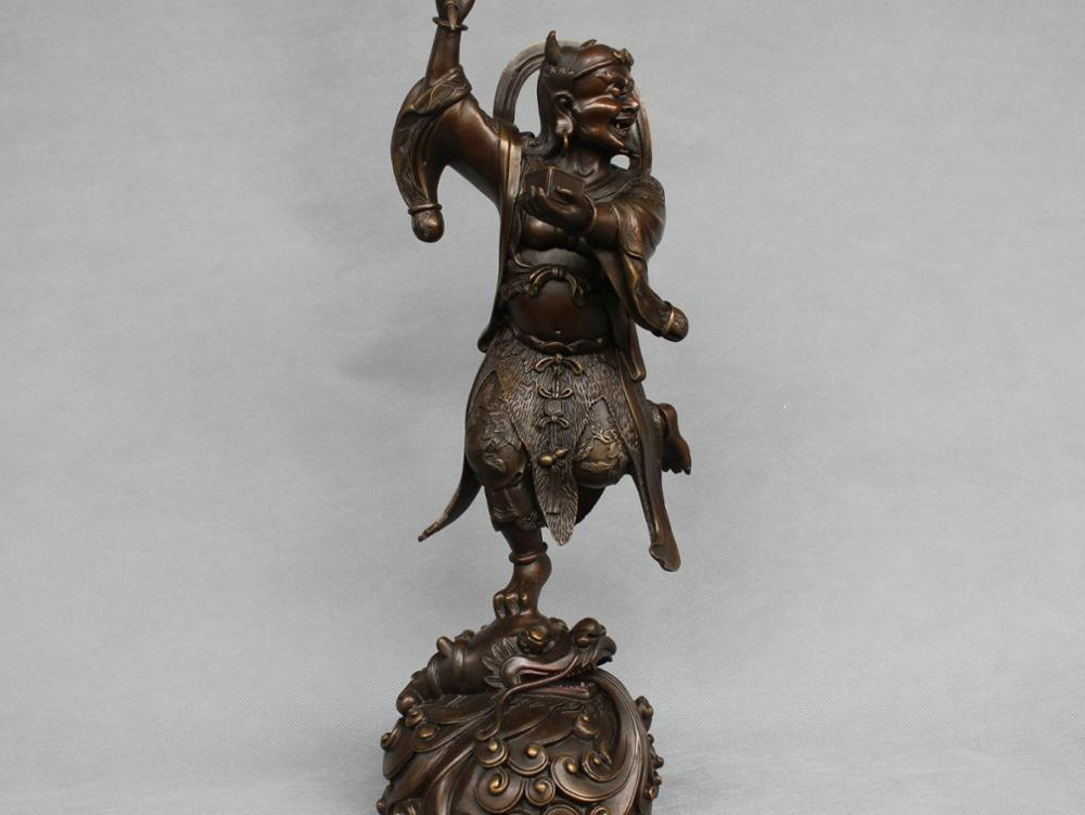 17 China Myth Osiris Lord Of Hell Judge Men's Death Stand Dragon Bronze Statue|lord|lord of|  - title=