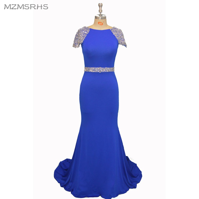 MZMSRHS Real Photos Pink Beading Handwork Scoop Neck Mermaid Prom - Vestidos para ocasiones especiales - foto 1