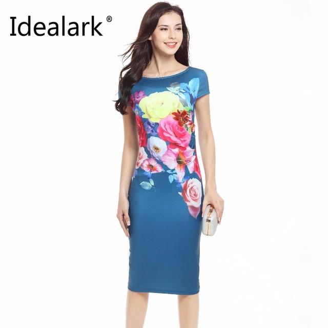 22cf017ba4 Idealark kobiety drukowane niebieskie sukienki letnie panie wokół szyi