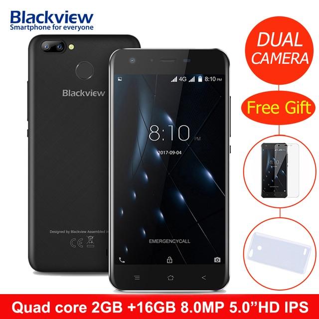 Оригинал Blackview A7 Pro 4 г LTE Смартфон Android 7.0 mtk6737 4 ядра 2 ГБ Оперативная память 16 ГБ Встроенная память 8.0mp + 0.3mp отпечатков пальцев мобильный телефон