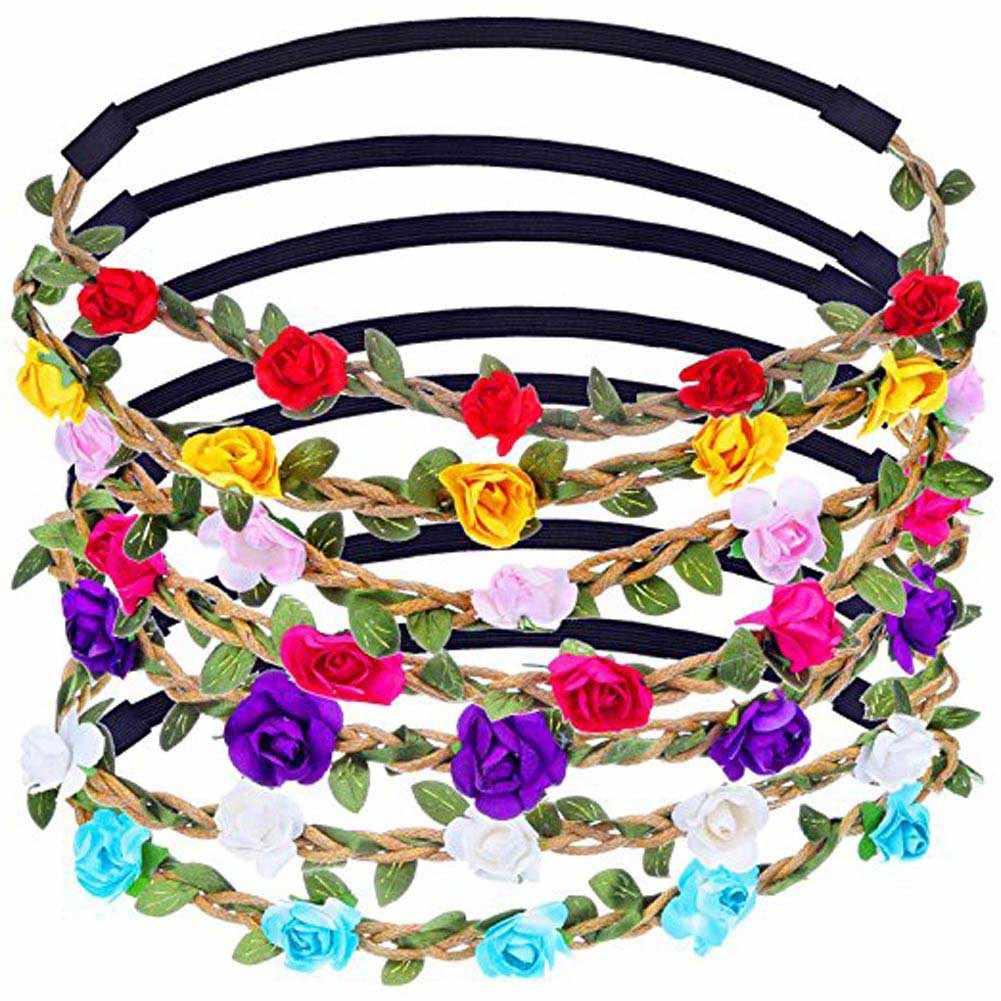 Banda de cabeza Floral de diseño encantador para mujer, accesorios para el cabello con flores rosas, diademas de flores elásticas ajustables para niñas