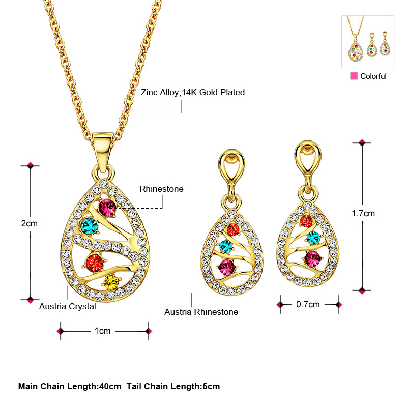 Neoglory Austria Crystal   Rhinestone Jewelry Set Light Yellow Gold Color  Colorful Water Drop Stylish Necklace   Earrings -in Jewelry Sets from  Jewelry ... 95c46f355042