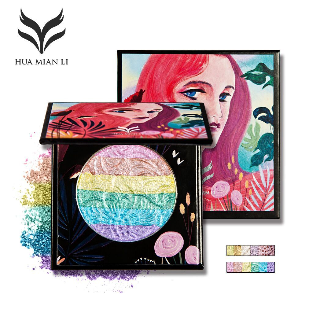 Highlighter 6 colour rainbow highlight eye shadow blush baking powder makeup tray