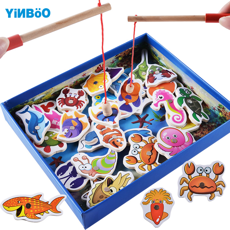 Baby Educational Toys 32 pcs Fish Wooden Magnetic Fishing Toy Set Fish Game Educational Toys Child Birthday Christmas Gift