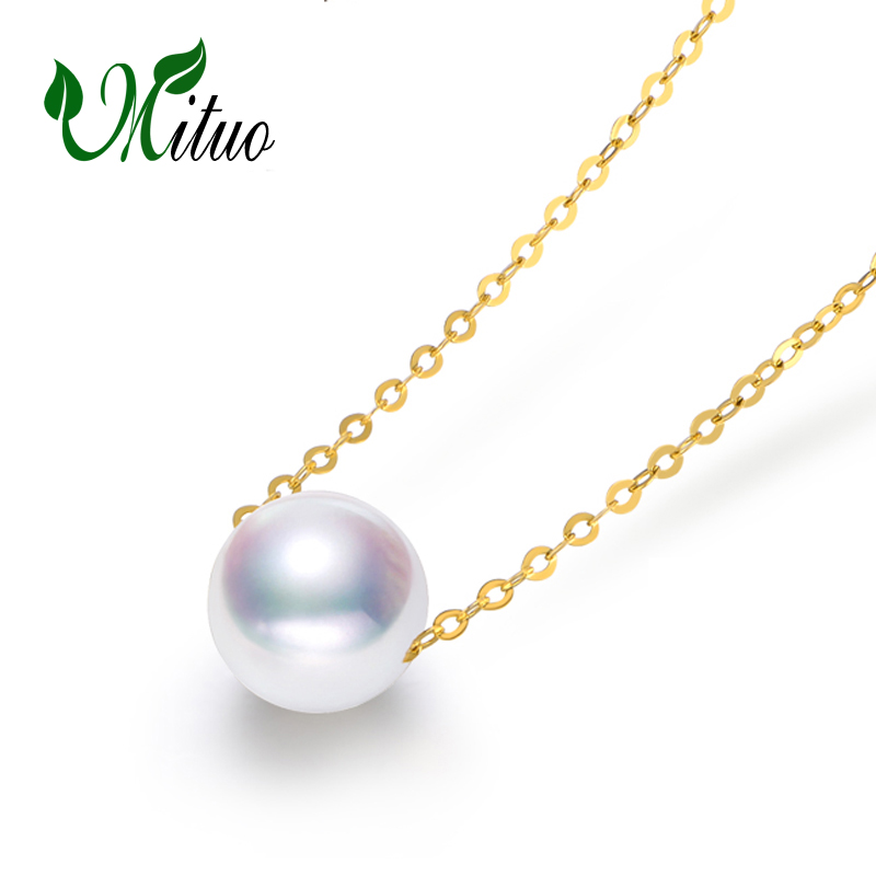 Collier en or MITUO 18 K, pendentif en perles rondes bijoux fins collier et pendentif en or jaune 18 k pour amoureux pendentifs en perles pour femmes