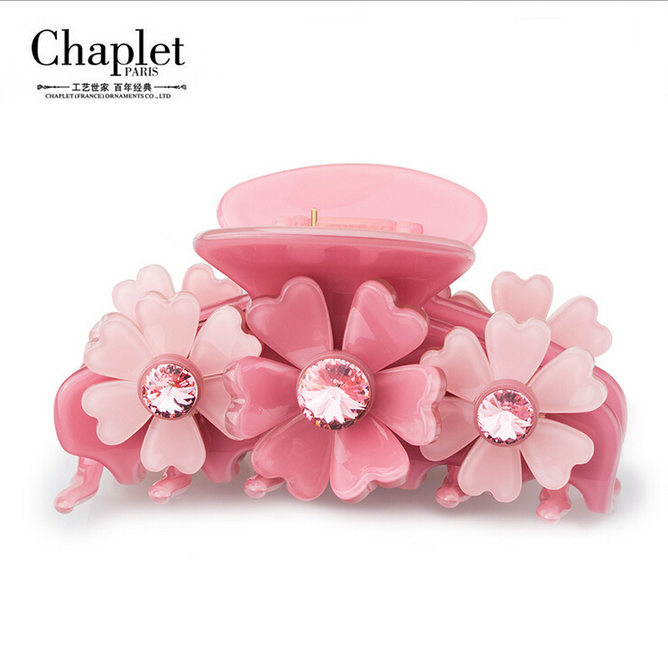 Chaplet 2016 High Quality New Korean Hair Claw Clip Rhinestone Head Jewelry Flower Hair Accessories for