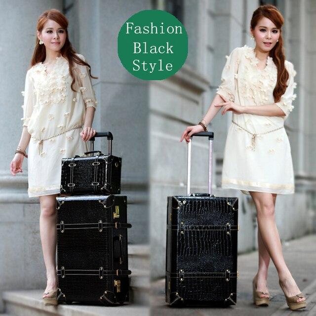 Корейский ретро 14 22 24 женщины путешествие багаж сумки комплект, Полиуретан кожа чемодан коробка на колеса с стержни, Девочка сумки
