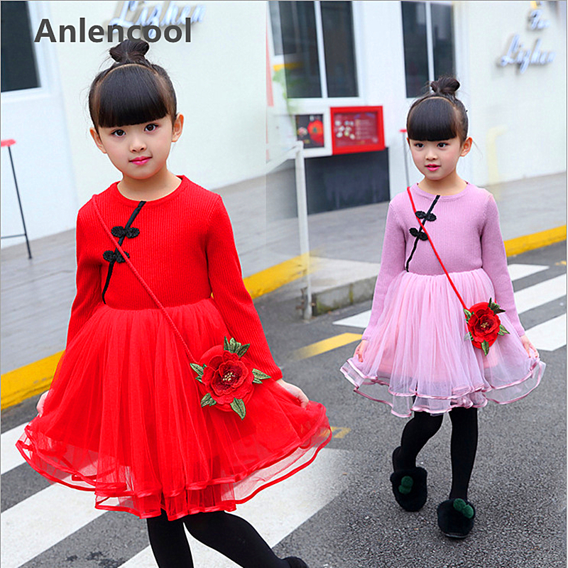 Anlencool Fashion South Koreas Winter Fashion Costume Girls Dress with a wool cashmere thermal Hot girls dress chidren clothing