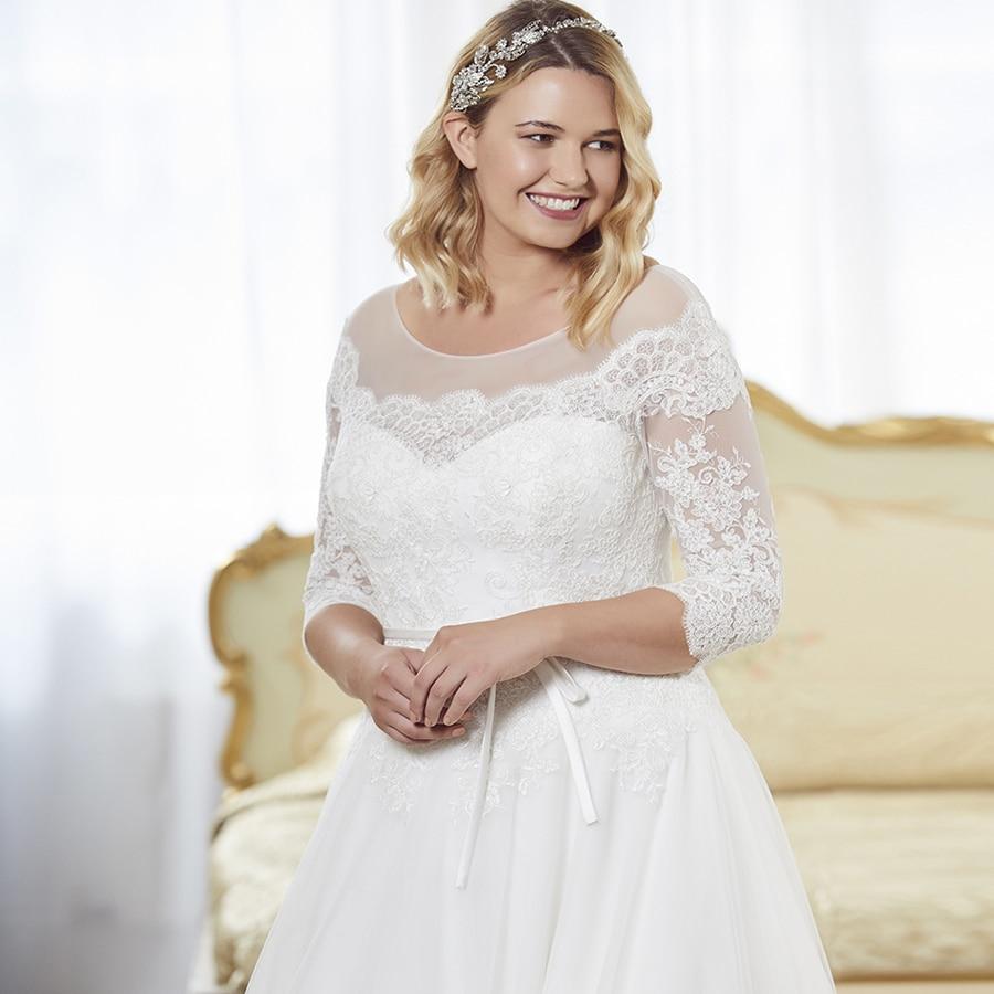 Lange De Kleider Spitze Brautkleider Ehe Novia Vestido Quater A Größe Sheer line Ärmeln Hochzeit Vintage Plus Tüll Drei Neck xw1YqOS1F