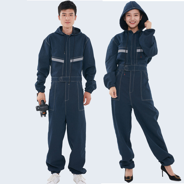 Woman man Denim Siamese overalls suit  welding spray paint machine repair Reflective protective  labor insurance clothing S-4XL
