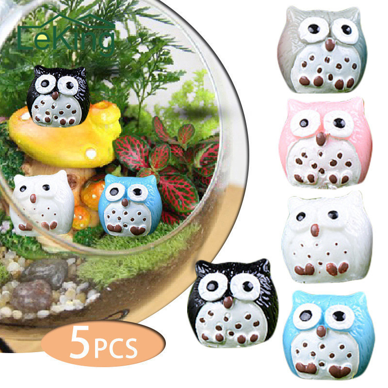 5pcs Artificial Animal Owl Miniature Fairy Garden Home Houses Decoration Mini Micro Landscaping Decor