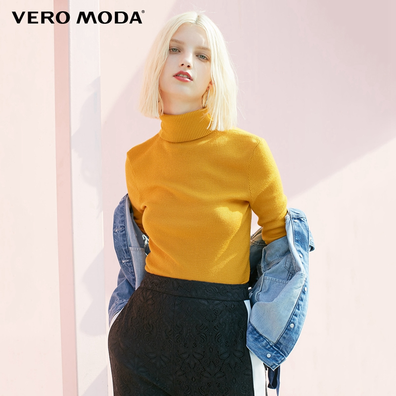 Vero moda Outono 100% Lã Slim Fit Base de Minimalista Malha de gola alta Camisola de Malha mulheres   318324522