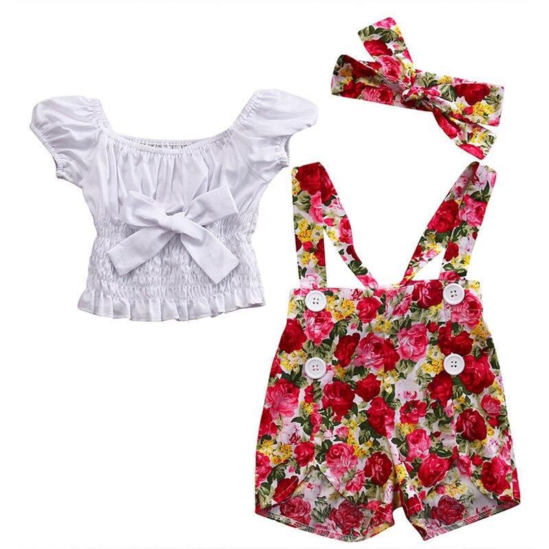 2017 Summer Toddler Kids Girls Clothes Cute Bow Crop Top T-shirt +Floral Suspender Short Pants Headband 3PCS Children Clothing