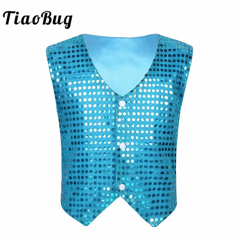 Kid Boys Glittery Waistcoat Dance Costumes Sequined Vest Shirt Modern Dancewear