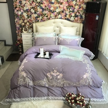 Luxury Purple Pink Blue Pastoral Flower Embroidery 80S Egyptian cotton Bedding Set Lace Duvet cover Bed sheet/Linen Pillowcases