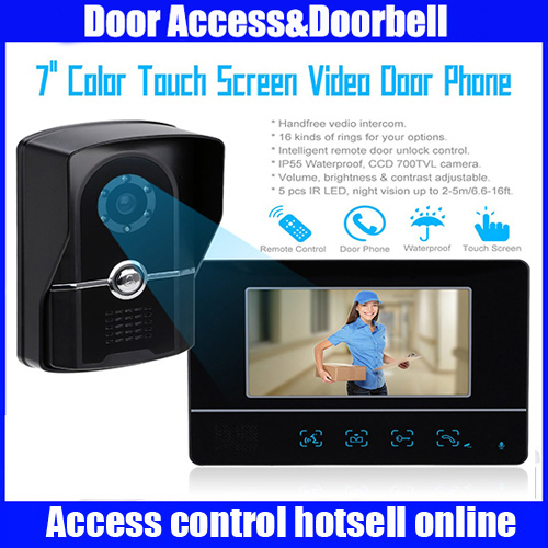 Home Security 7 TFT Touch Screen LCD Color Video Doorbell Intercom System Night Vision Camera Doorphone Remote Control 7 inch tft touch screen lcd color video door phone doorbell wall mounted intercom system night vision eye camera doorphone