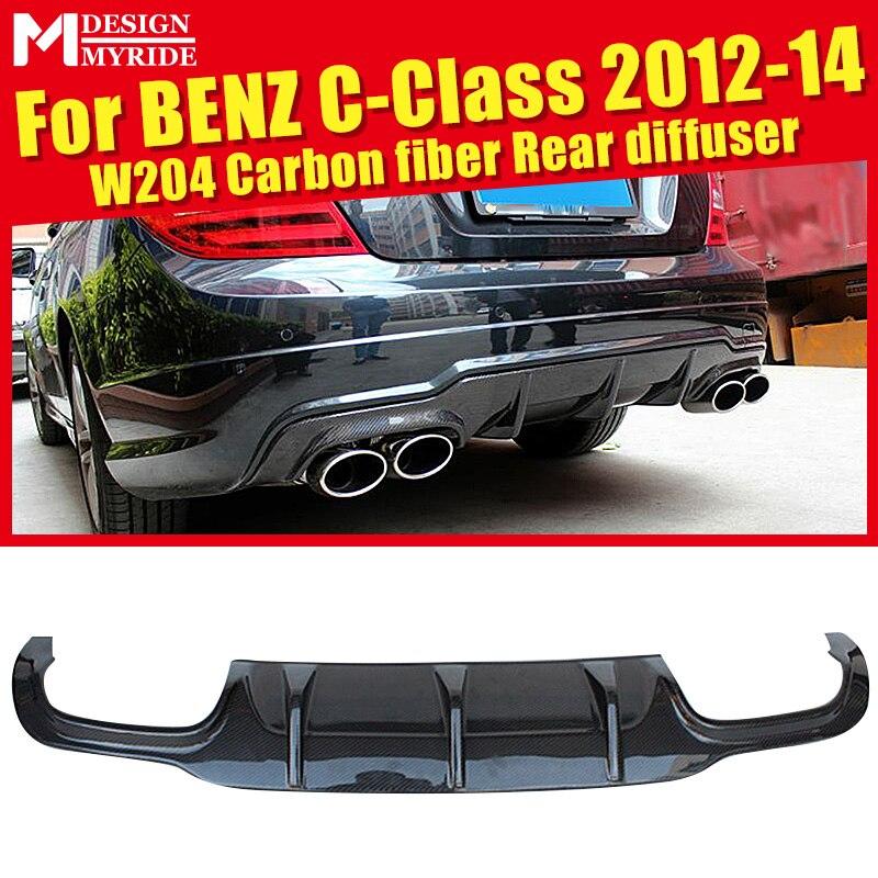 W204 rear diffuser Carbon Fiber No hole Black bumper lip Fits For Benz C180 C200 C250 12-14