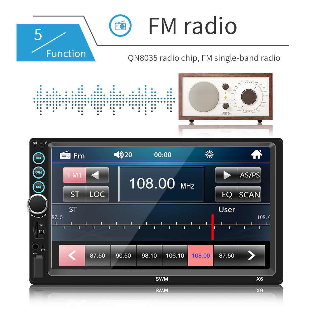 7 インチ Bluetooth ステレオタッチスクリーンラジオ 2 DIN MP5 プレーヤーカーマルチメディア Ios アンドロイド像接続