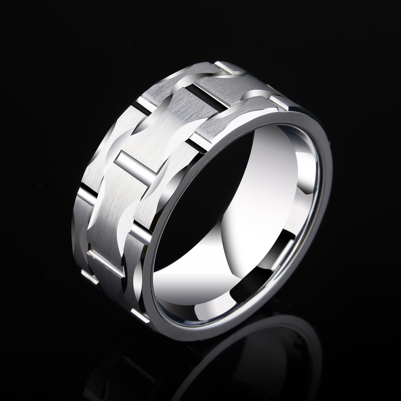 2018 New Design Saya Brand Men's 10mm Brick Pattern Silver Tungsten Carbide Statement Ring Wedding Ring For Anniversary Party-in Rings from Jewelry & Accessories    1