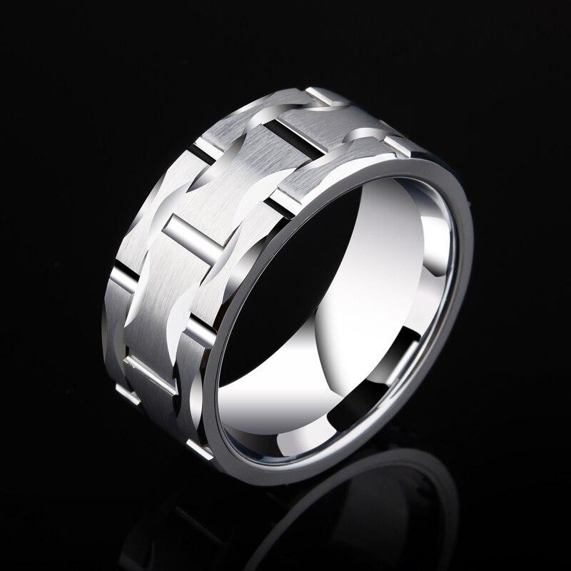 Takı ve Aksesuarları'ten Halkalar'de 2018 Yeni Tasarım Saya Marka erkek 10mm Tuğla Desen Gümüş Tungsten Karbür Bildirimi Yüzük Düğün Yüzük Yıldönümü Için parti'da  Grup 1