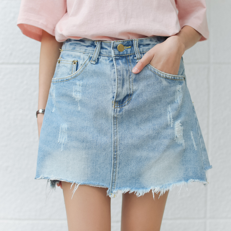 Sexy Mini Skirts Women 2017 New Denim Skirts Riped Short Summer High Waist Denim Shorts Jeans ...