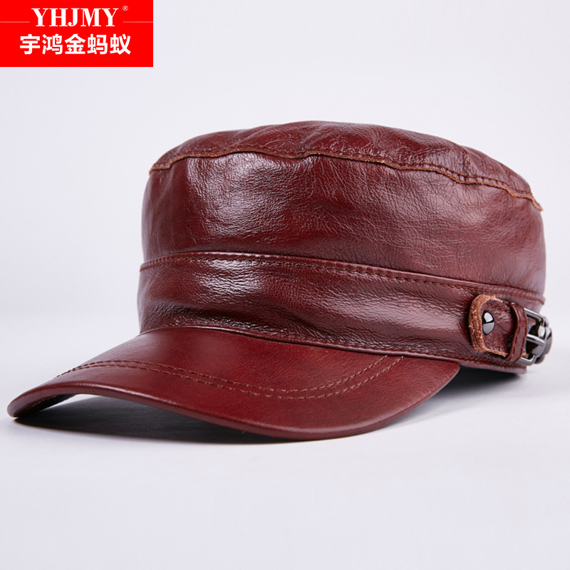 100% Genuine Leather Baseball Cap New Men's Real Leather Cap Male Adult Solid Adjustable Army Hat Winter Warm Peaked Cap B-7204 winter genuine leather baseball caps men golf peaked dome hats male adjustable ear warm casquette leisure peaked cap b 7209