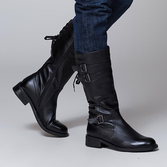 Men Full Grain Leather British Style Long Boots Winter Round Toe High Cylinder Pure Color Comfortable