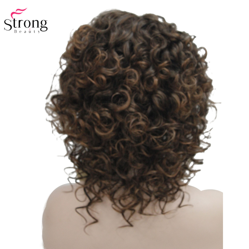 Image 4 - StrongBeauty Medium Curly Wig Hair Brown Women's Synthetic Capless Wigs Natural-in Synthetic None-Lace  Wigs from Hair Extensions & Wigs