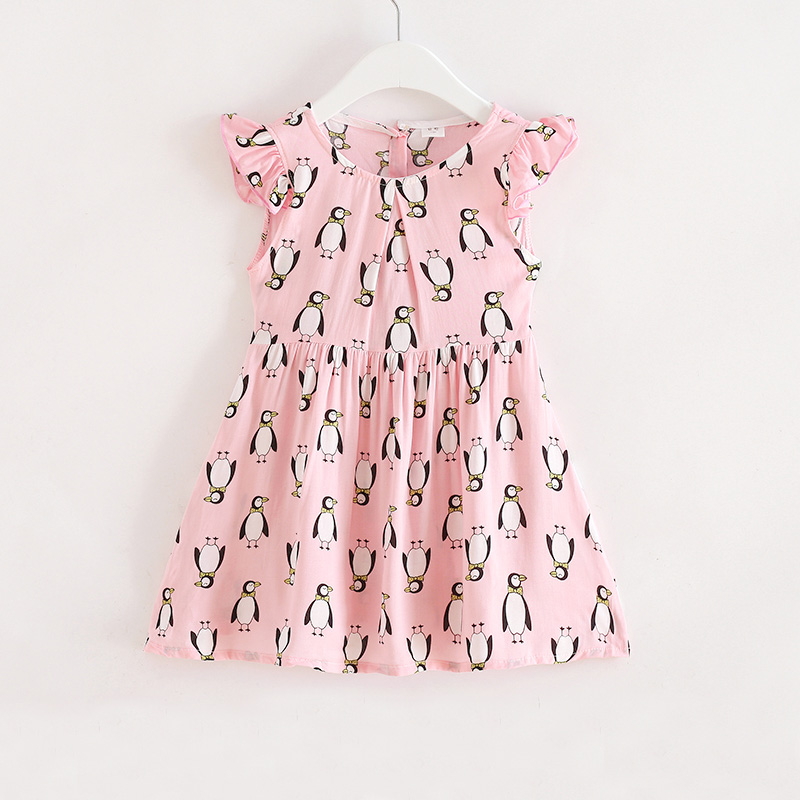 Penguin Printed Cotton Children Toddler Girls Dress Summer 2018 Casual Princess Teenage Kids Dress Girl Party drop shoulder printed dress