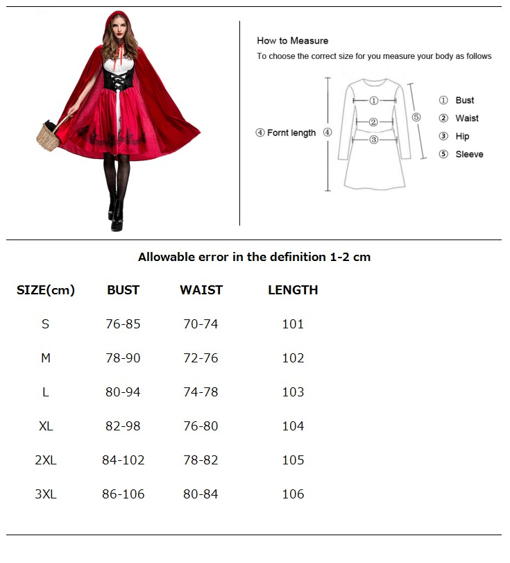 LITTLE RED RIDING HOOD ADULT COSTUME WOMENS BOOK WEEK DRESS HOODED CAPE XL XXL