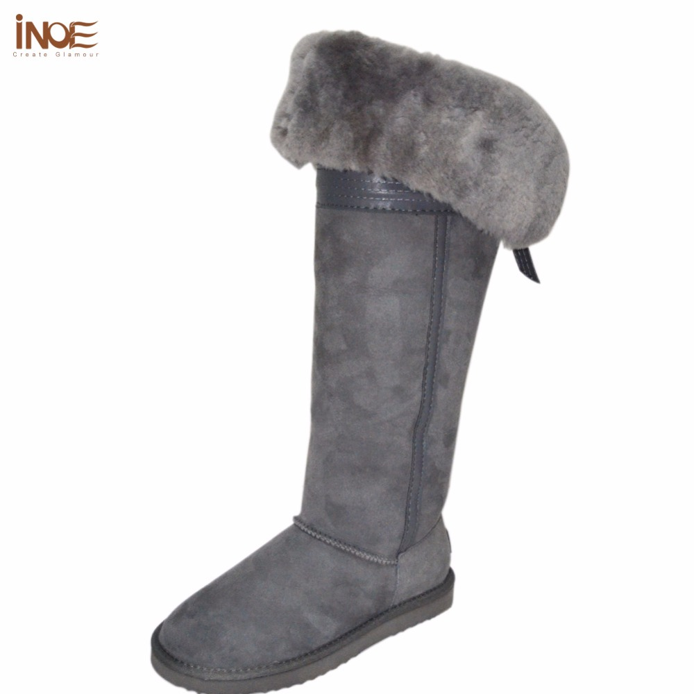 INOE 2017 over the knee real sheepskin leather fur lined winter suede long snow boots for women bowknot thigh winter shoes 35-44 inoe fashion fox fur real sheepskin leather long wool lined thigh suede women winter snow boots high quality botas shoes black