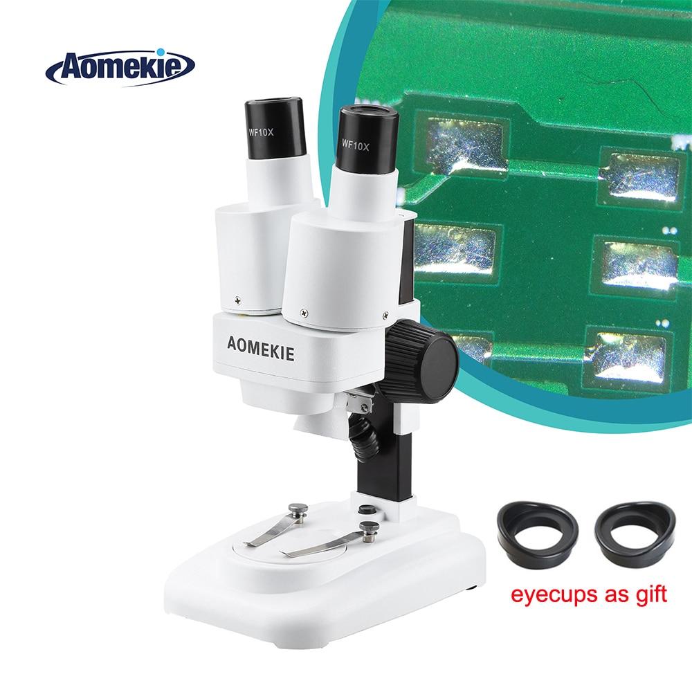 AOMEKIE 20X Microscope stéréo binoculaire avec LED pour outil de soudure de carte PCB