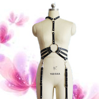 women 2 piece set bra harness leather garter belt bondage harness garter belt cinta liga harajuku sexy lingerie sex products