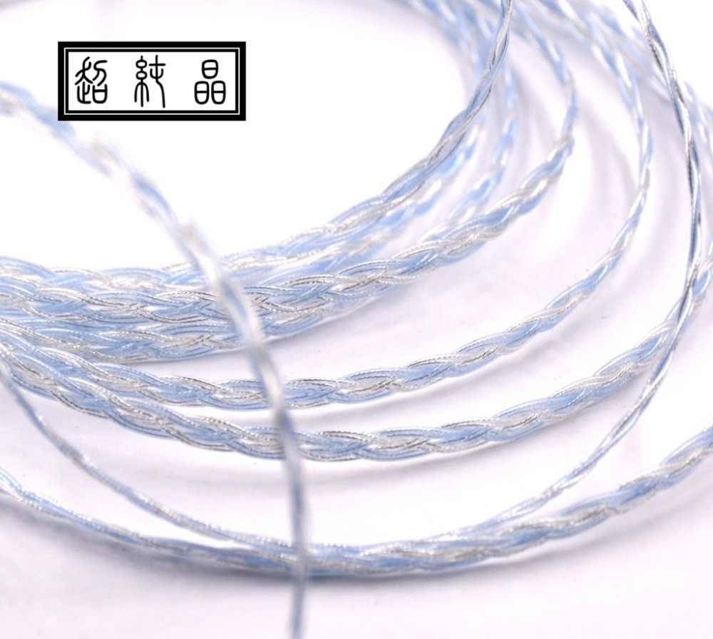 Teflonowe posrebrzane tkane 8-strand płaskie słuchawki drutu 1.2 m/sztuk (bez wtyczki i pin)