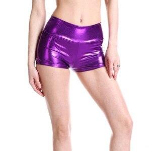 Image 5 - YRRETY Plus Size Adult Silver Metallic Shorts Rave Booty Shorts Mid Waist Cheer Shorts PU Shiny Dance Woman Shorts Sexy M XXL
