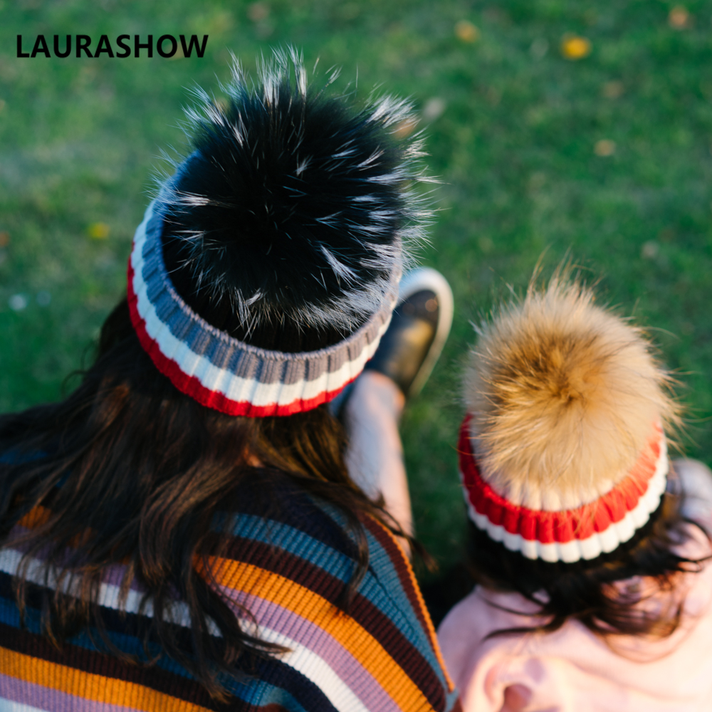 LAURASHOW Winter Kids Adult Hats Beanies Caps Knit Hat Girls Boys Raccoon Mink Fur Pom Poms Wool new star spring cotton baby hat for 6 months 2 years with fluffy raccoon fox fur pom poms touca kids caps for boys and girls
