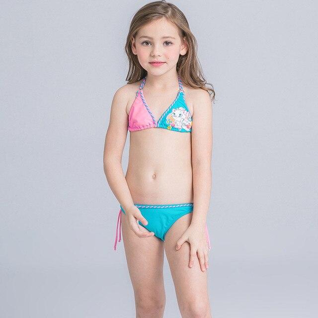 d5855bd93baf3 Children swimwear bikini 2017 Solid Character girls Beachwear Bathing suit  girl two-piece bathing suit Blue Pink bikini nina