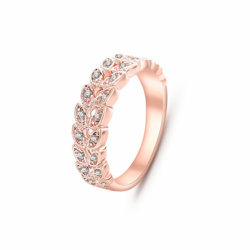 NJ92 Fashion Jewelry Rose Gold Color Leaves Rings Rhinestones Crystal Rings For Women High Quality Wedding
