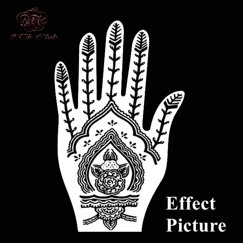 2 Pair Indian Henna Tattoo Stencil, Blomst Hånd Mehndi Henna Glitter - Tatovering og kroppskunst - Bilde 5