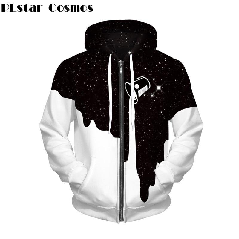 PLstar Cosmos Long-sleeved Hoodies Women/Men Zipper Hoodie Space Galaxy Spilled Milk Sweatshirt Streetwear Unisex Hoody Tops