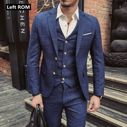 (Chaqueta + chaleco + Pantalones) 2019 nuevo traje de negocios Formal a cuadros para hombre Boutique de moda conjunto de 3 piezas/trajes casuales de gama alta para hombre