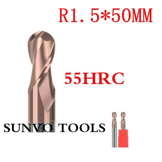 5PCS R1.5 HRC45 HRC50 HRC55 HRC60 HRC65 3MM R1.5x50mm Tungsten Carbide ball nose End Mills Spiral Bits CNC Endmill Router Bits