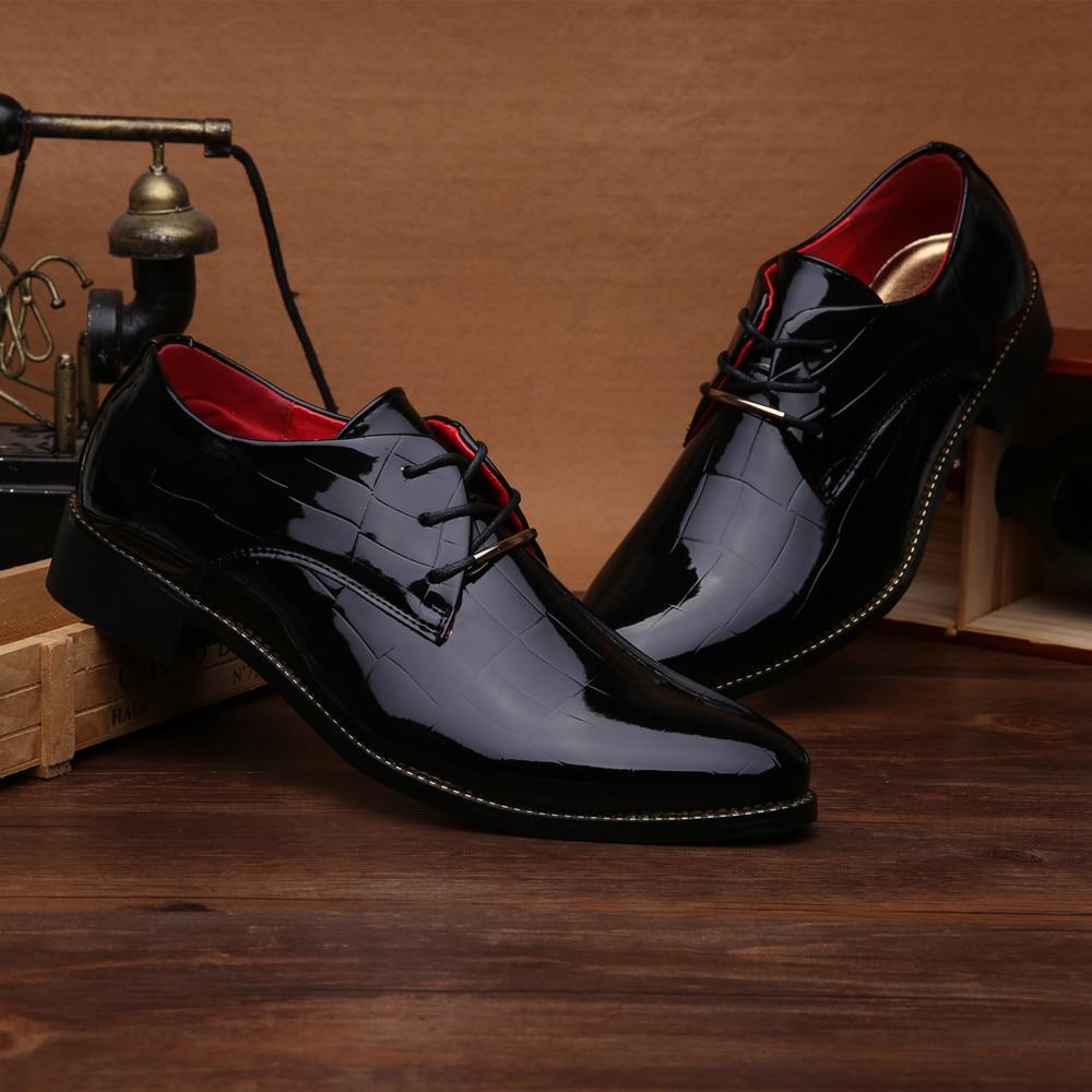 Para Apartamentos Oxford Pé Apontado De Da Patente Couro Homens Mens Sapatos Moda Noiva Dedo 2016 44 Preto Do xw6qP8vzn4