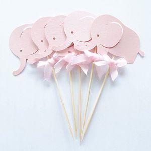 Image 2 - 10Pcsสีชมพูช้างToppers Picks Cupcake Topperอาบน้ำเด็กอุปกรณ์เด็กเด็กวันเกิดเบเกอรี่เค้กParty Decor