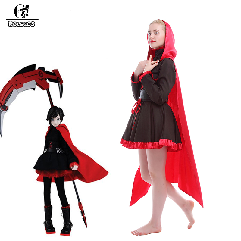 ROLECOS Anime RWBY Cosplay Costumes Full Set Ruby Rose Costume Red Trailer Ruby Battle Uniform Dresses