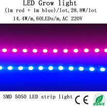 (1m Red + 1m Blue) SMD 5050 LED Grow Light Strip 28.8W/Lot 220V Provide Sun For Seedlings Fowers, Vegetables In Grow Tent