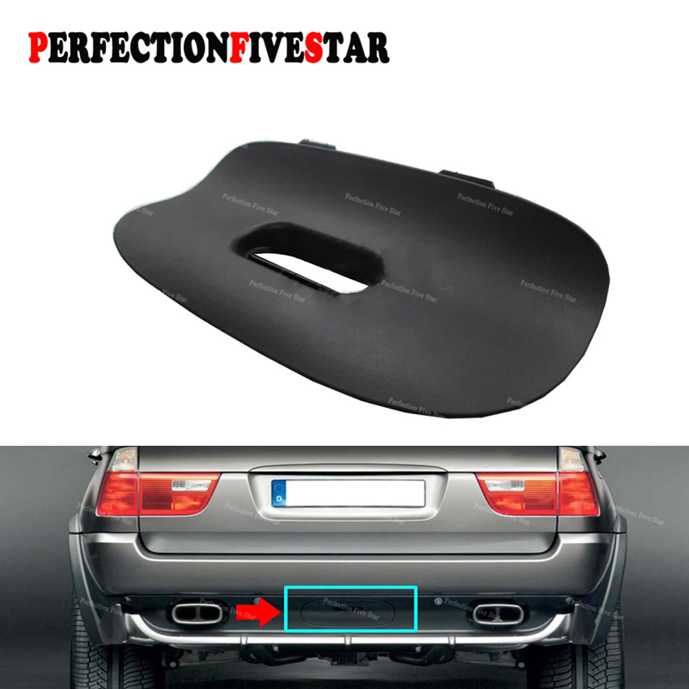 цена на 51128402327 For BMW E53 X5 E53 2000-2006 Black Rear Bumper Tow Bar Cover Trim Flap Trailer Hitch Mount with Hole 51 12 8 402 327